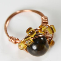 Tiger Eye Copper Wire Wrapped Ring with Beads