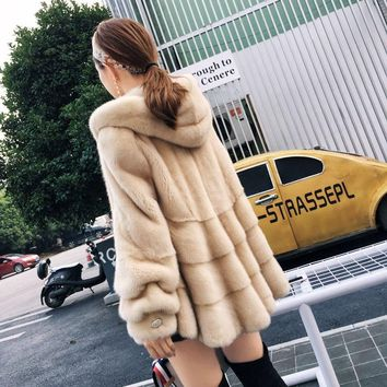 2017 new mink coat female mantle cap jacket in the long section of mink fur coat hooded Korean version was thin