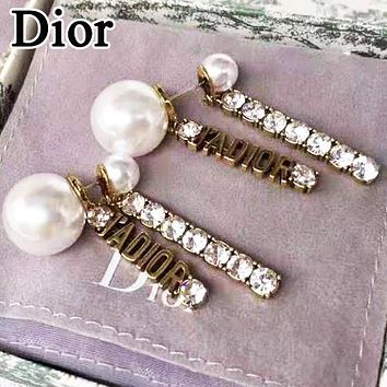 Dior Fashion Women Delicate Pearl Diamond Tassel Pendant Earrings Accessories Jewelry