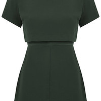 PETITE Satin Back Overlay Dress - Emerald