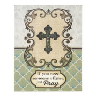 Just Pray Cross Canvas Plaque