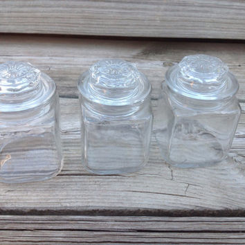 Vintage Miniature Anchor Hocking Glass Apothecary Jars