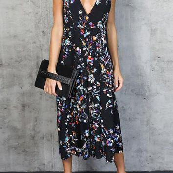Black Bohemian Floral Draped Spaghetti Strap Mexican Deep V-neck Elegant Party Maxi Dress