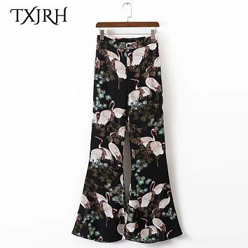 TXJRH Vintage Ethnic Cranes Leaf Animal Print High Waist Silm Flare Pants Fashion Women Full Length Pants Trousers Casual Black