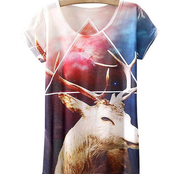 White Nebula Sky And Antelope Print T-Shirt