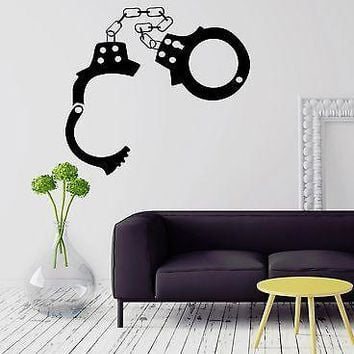 Wall Stickers Police Handcuffs Sheriff Mafia Crime Vinyl Decal Unique Gift (ig1573)