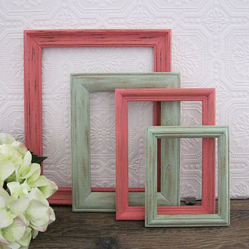 Mint And Coral Picture Frames Nursery Wall Decor