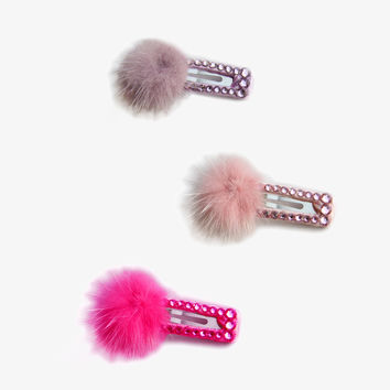 Bari Lynn Pompom & Swarovski Crystal Hair Clip - Back in Stock