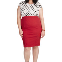 ModCloth Pinup Style Essential Skirt in Red - Plus
