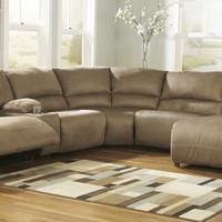 6 pc hogan ii collection mocha colored fabric sectional sofa with recliners and chaise