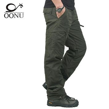Winter Double Layer Thick Men Cargo Pants Casual Warm Baggy Cotton Trousers For Men's Pants Male Military Camouflage Tactical