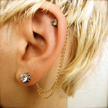 Double Cartilage Chain on Earring Backs - Gold