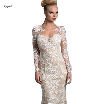 Beige 2016  long sleeve Bridesmaid dress  lace appliques high quality organza Long Prom Dresses Women Formal Gowns