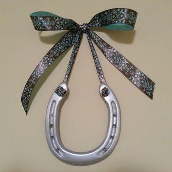 SALE Lucky Hand Painted Silver Horseshoe-Chocolate-Teal Satin Print Bow