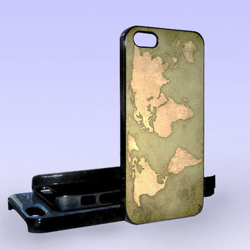World Map Vintage - Print on Hard Cover - iPhone 5 Case - iPhone 4/4s Case - Samsung Galaxy S3 case - Samsung Galaxy S4 case