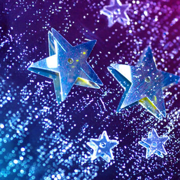 Shooting Star Photography Print | Blue Purple Bokeh Star Glitter Outer Space | Home Office Bedroom Bathroom Decor
