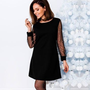 be5918481d Best Black Dress Sheer Sleeves Products on Wanelo
