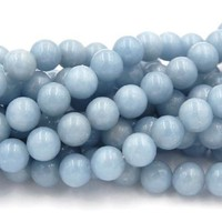 4mm Angelite in glacier-blue round beads -16 inch strand