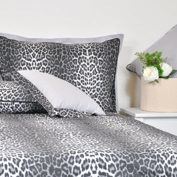 Leopard Duvet Cover Set in Full Queen King Size - Black Smoky Gray Leopard Print Cotton Fabric, Leopard Bedding Set