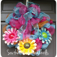 Summer Deco Mesh Wreath with Metal Flowers