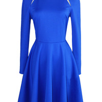 Blue Cut Out Front Long Sleeve Mini Skater Dress