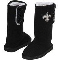 New Orleans Saints Ladies Knit High End Button Boot Slippers - Black
