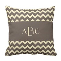 Monogram, Neutral Taupe & Cream Chevron