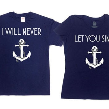 Matching Couple T Shirts Honeymoon TShirts Nautical Clothing Anchor T-Shirt His And Her Shirts Sailing Gifts Best Friends BFF SA732-733