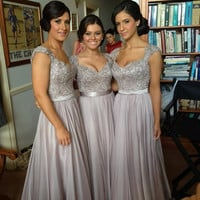 Grey Long Prom Dresses, Grey Bridesmaid Dresses, Wedding Party Dresses, Formal Dresses