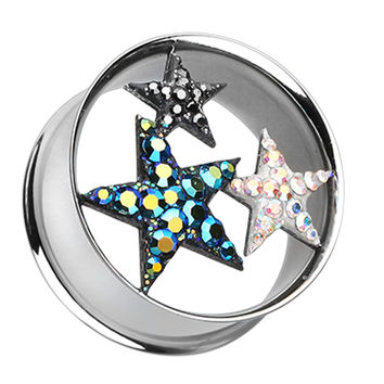 Triple Star Sparkling Tunnel Ear Gauge Plug