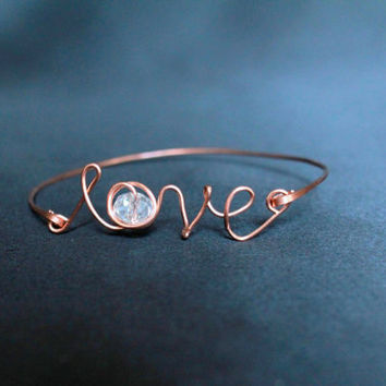 Love Bracelet Bangle Glass beads copper contemporary metal jewelry wire hammered handmade luxe style