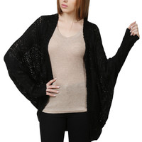 LE3NO Womens Loose Fit Open Front Batwing Knit Cardigan (CLEARANCE)