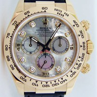 Rolex Cosmograph Daytona Gold Mother of Pearl Diamond Black Leather Strap 116518