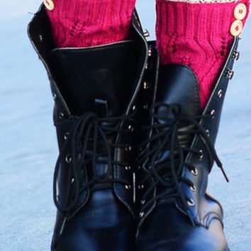 Boot Covers with Crochet Lace & Buttons