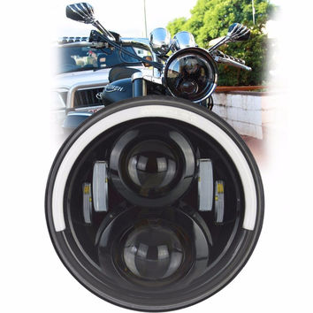 """7"""" 50W Round LED Headlight Bulb Daymaker with Hi/Lo Beam Half Halo Ring Angle Eye DRL Turn Signal For Harley Davidson Motorcycle"""