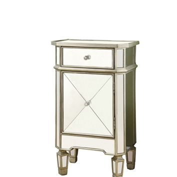 Brushed Silver / Mirrored 1 Drawer Accent Cabinet