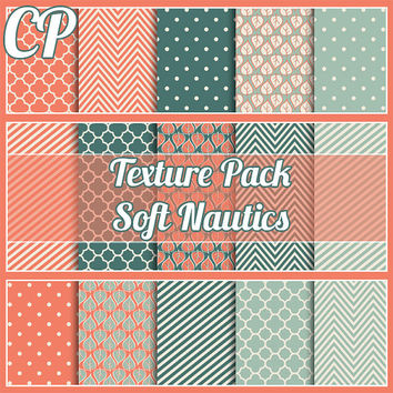 30% sale Soft Nautics seamless texture pack.Digital papers great for backgrounds, scrapbooking etc includes Polkadots, chevron, stripes,