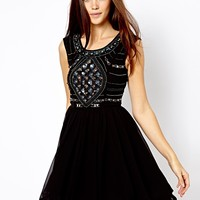 River Island Embellished Top Ruffle Hem Dress