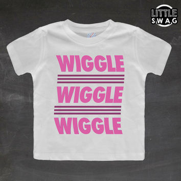 Wiggle Wiggle Wiggle Pink (white shirt) - toddler, kids t-shirt, children's, kids swag, fashion, clothing, swag style