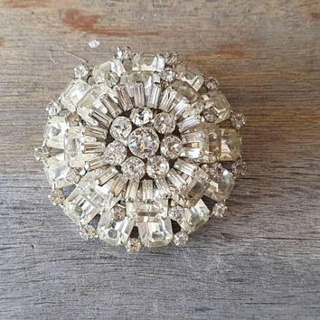 "Large Weiss Rhinestone Brooch , 4 Tier , 2.5"" , Clear Baguette And Round Cut Rhinestones  , Gifts For Her"