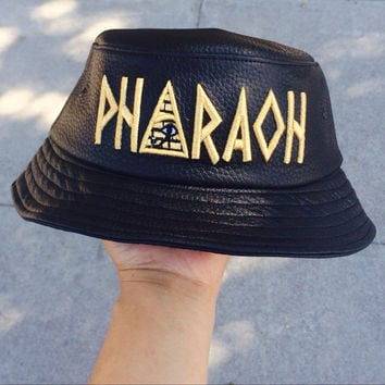 Black Leather Pharaoh Bucket Hat