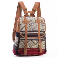 Authentic Ethnic Hand Weaving Daypack Lined backpack Folk Woven Textile Traditional Boutique Rucksack
