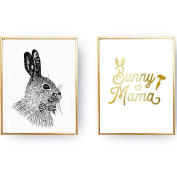 Set Of 2 Prints, Rabbit Bow Print, Bunny Mama Poster, Animal Lover Print, Typography Print, Teenage Wall Art, Home Decor, Gold Foil Print