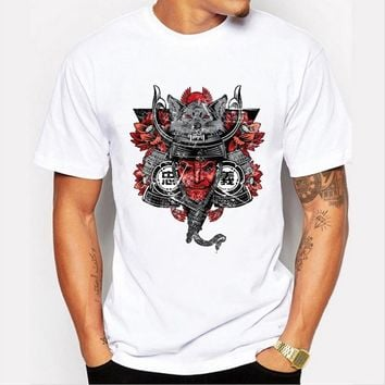Summer fashion men 's tops personality warrior printing trend T - shirt short - sleeved round neck T - shirt