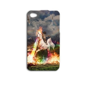 Cat Riding Fire Breathing Unicorn with Gun Cute Funny Custom Case Cover iPhone 4 iPhone 4s iPhone 5 iPhone 5s