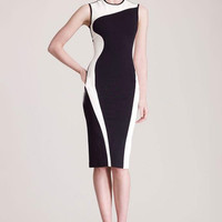 Color Block Sleeveless Bodycon Midi Dress