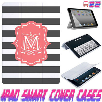 USA Customize Stripe line Monogram On IPad Air, IPad Mini, IPad 4/3/2 Smart Cover PU Leather Magnetic Sleep Wake Case #92
