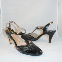"Vintage Shoes Collectible  Johansen ""So Unmistakably"" Black Patent Leather T-Strap High Heel Shoes sz 3 B"