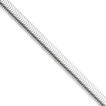 Men's 5mm, Sterling Silver Flat Oval Snake Chain Necklace, 16 Inch