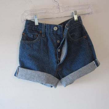Vintage Levi 501 Jean Shorts, Button Fly Cut Off Levi Shorts, American made USA, Denim Levi Shorts